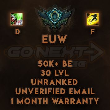 EUW UNRANKED/UNVERIFIED SMURF | 50K+ BE | Flash on F