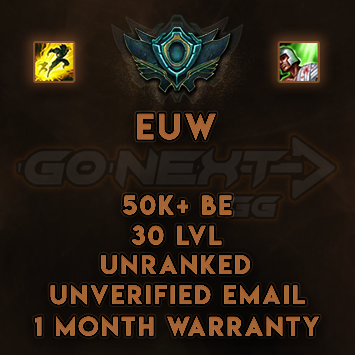 EUW UNRANKED/UNVERIFIED SMURF | 50K+ BE