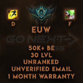 EUW UNRANKED/UNVERIFIED SMURF | 50K+ BE | Flash on D