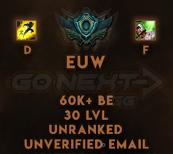 EUW UNRANKED/UNVERIFIED SMURF | 60K+ BE | Flash on D