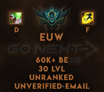 EUW UNRANKED/UNVERIFIED SMURF | 60K+ BE | Flash on F